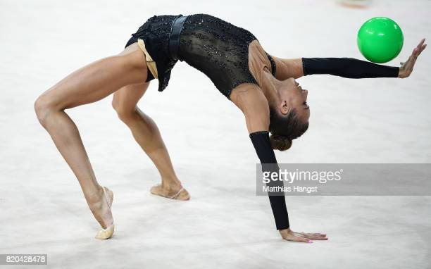Viktoriia Mazur of Ukraine competes during the Rhythmic Gymnastics Women's Individual Ball Qualification of The World Games at Centennial Hall on...