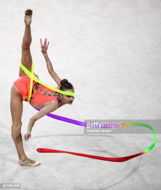 Viktoriia Mazur of Ukraine competes during the Rhythmic Gymnastics Women's Individual Ribbon Qualification of The World Games at Centennial Hall on...