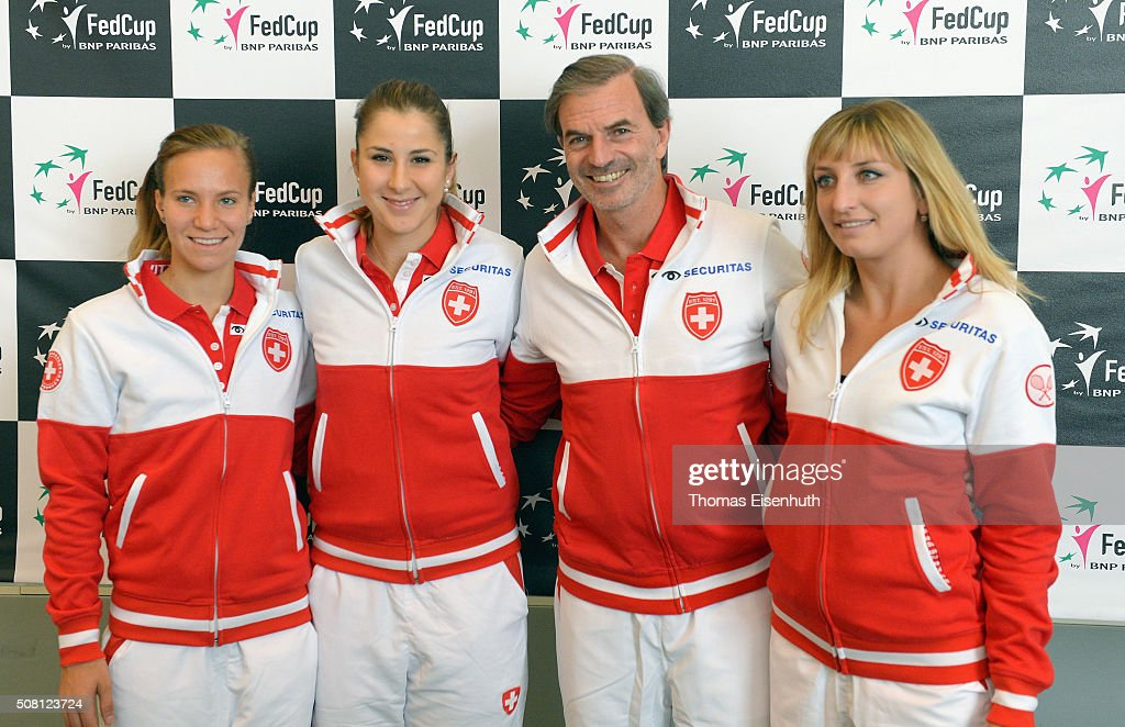 Viktorija Golubic, Belinda Bencic, Head coach Heinz Guenthardt and Timea Bacsinszky (L-R) of team Switzerland attend a press conference prior to the Fed Cup match against Germany at Messe Leipzig on February 3, 2016 in Leipzig, Germany.