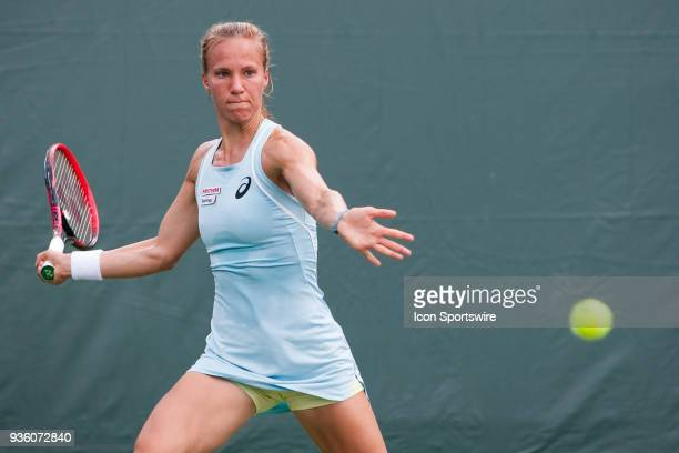 Viktorija Golubic competes during the qualifying round of the 2018 Miami Open on March 19 at Tennis Center at Crandon Park in Key Biscayne FL