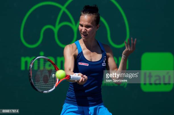 Viktorija Golubic in action during the first round of the 2017 Miami Open on March 21 at Tennis Center at Crandon Park in Key Biscayne FL
