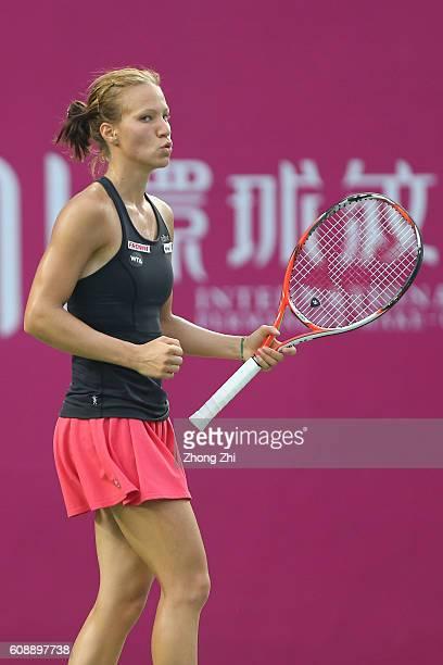 Viktorija Golubic of Switzerland celebrates a point during the match against Denisa Allertova of Czech Republic on Day 2 of WTA Guangzhou Open on...