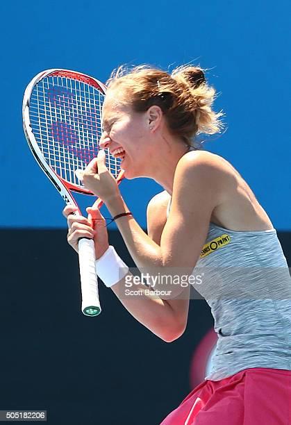 Viktorija Golubic of Switzerland celebrates after defeating Arina Rodionova of Australia during the third round of 2016 Australian Open Qualifying at...