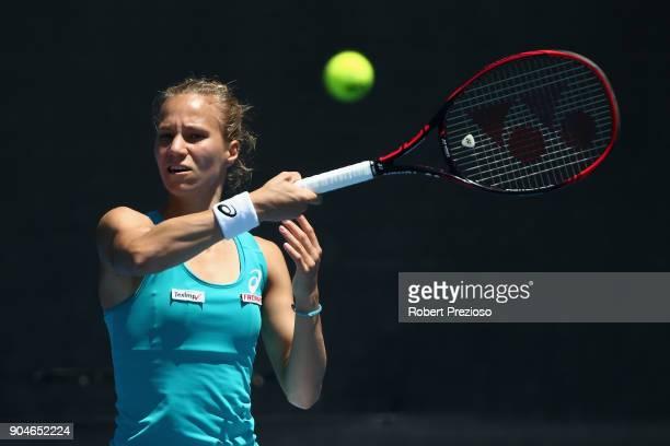 Viktorija Golubic of Switzerland competes in her third round match against Bernarda Pera of United States during 2018 Australian Open Qualifying at...