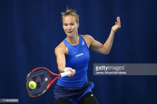 Viktorija Golubic of Switzerland in action against Liudmila Samsonova of Russia during day three of the Nature Valley Open at Nottingham Tennis...