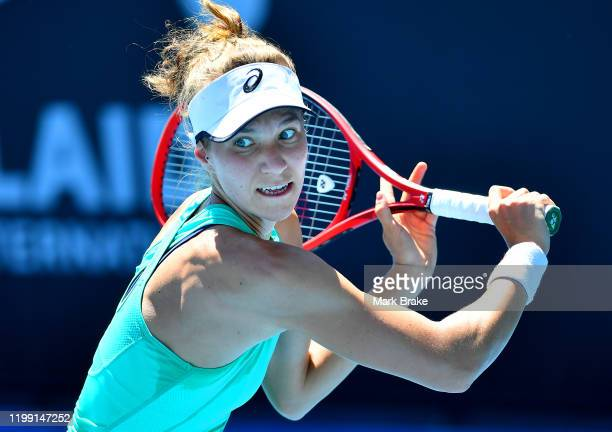 Viktorija Golubic of Switzerland in action against Sofia Kenin of the USA during day two of the 2020 Adelaide International at Memorial Drive on...
