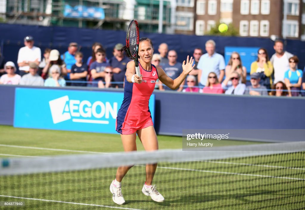 Viktorija Golubic of Switzerland in action during the Aegon Southsea Trophy final match between Shuko Aoyama of Japan and Zhaoxuan Yang of China and Viktorija Golubic of Switzerland and Lyudmyla Kichenok of Ukraine on June 30, 2017 in Portsmouth, England.
