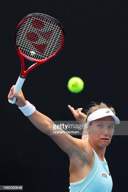 Viktorija Golubic of Switzerland plays a backhand in her match against Kristie Ahn of the United States during day three of Qualifying ahead of the...