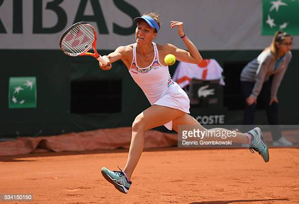 Viktorija Golubic of Switzerland plays a forehand during the Women's Singles second round match against Lucie Safarova of the Czech Republic at...