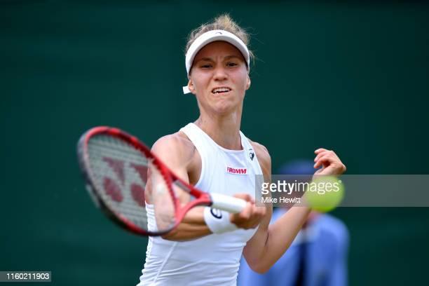 Viktorija Golubic of Switzerland plays a forehand in her Ladies' Singles third round match against Dayana Yastremska of Ukraine during Day five of...