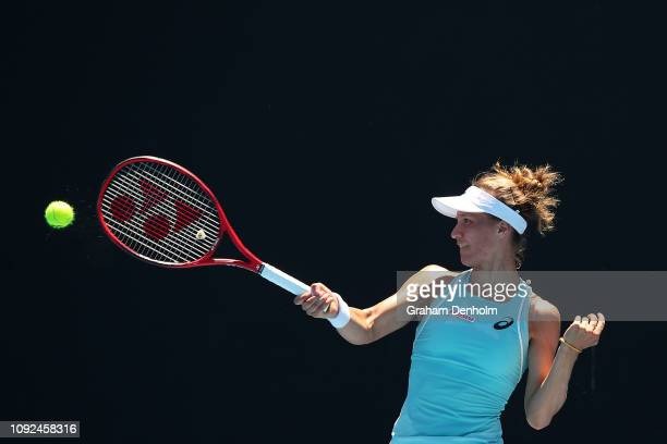 Viktorija Golubic of Switzerland plays a forehand in her match against Nicole Gibbs of the United States during Qualifying ahead of the 2019...