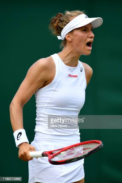 Viktorija Golubic of Switzerland reacts in her Ladies' Singles third round match against Dayana Yastremska of Ukraine during Day five of The...