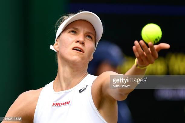Viktorija Golubic of Switzerland serves in her Ladies' Singles third round match against Dayana Yastremska of Ukraine during Day five of The...