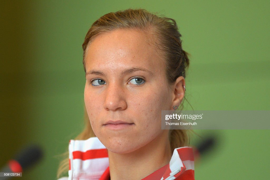 Viktorija Golubic of team Switzerland attends a press conference prior to the Fed Cup match against Germany at Messe Leipzig on February 3, 2016 in Leipzig, Germany.