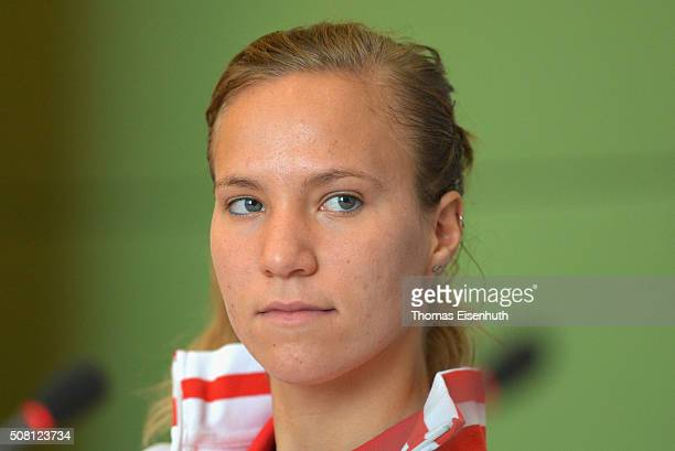 Viktorija Golubic of team Switzerland attends a press conference prior to the Fed Cup match against Germany at Messe Leipzig on February 3 2016 in...