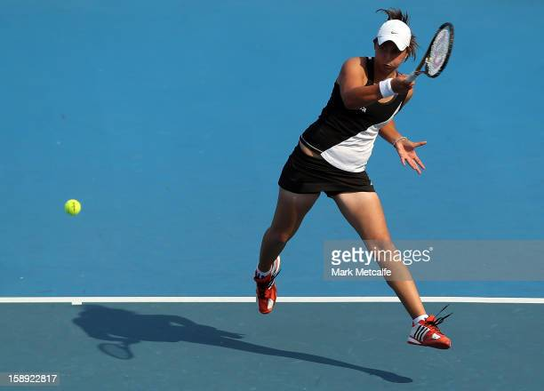 Viktorija Rajicic of Australia plays a forehand in her qualifying singles match with Stephanie Dubois of Canada during day one of the Hobart...