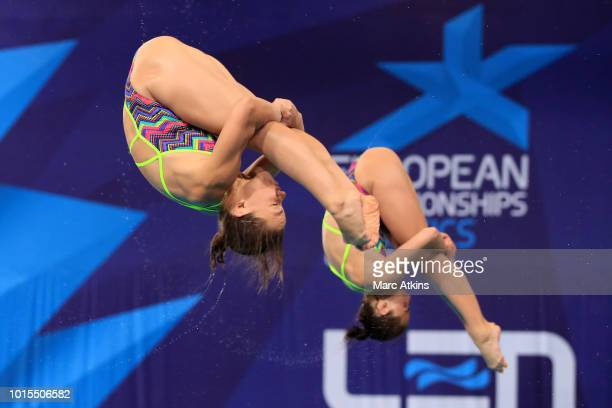 Viktoriya Kesar and Anna Pysmenska of Ukraine compete in the Women's 3m Synchronised Springboard Final during the diving on Day eleven of the...