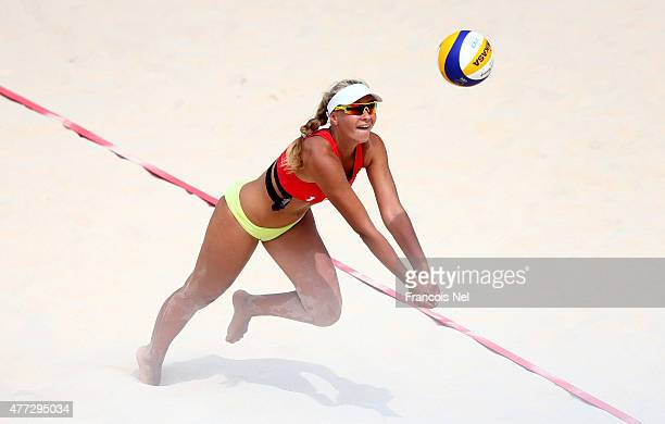Viktoriya Shalayeuskaya of Belarus competes in the Women's Beach Volleyball preliminary match against Italy during day four of the Baku 2015 European...