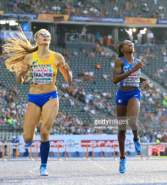 Viktoriya Tkachuk of Ukraine competes during the women's 400m semi final hurdle race within the third day of the 2018 European Athletics...