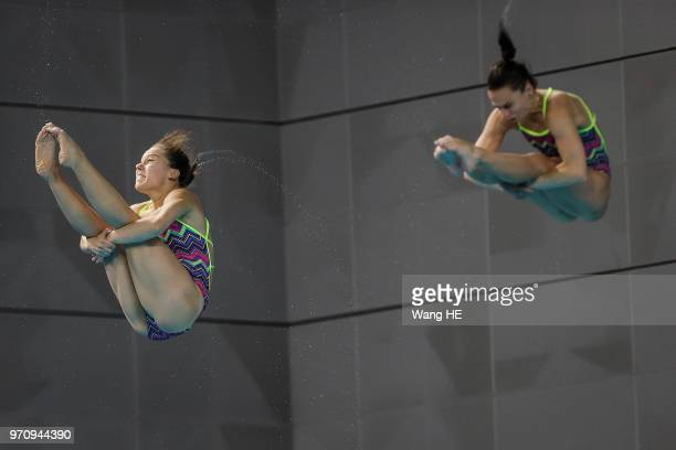 Viktorya Kesar and Anna Pysmenska of Ukraine compete in the women's 3m Synchro Springboard final on FINA Diving World Cup 2018 at the Wuhan Sports...