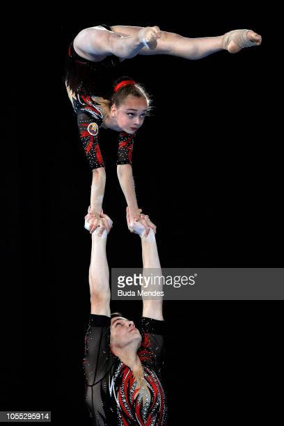 Viktoryia Akhotnikava and Ilya Famenkou of Belarus participate in Acrobatic Gymnastics Mixed Pair Final at Youth Olympic Park on October 15 2018 in...