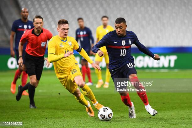 Viktos TSYGANKOV of Ukraine and Kylian MBAPPE of France during the international friendly match between France and Ukraine on October 7, 2020 in...