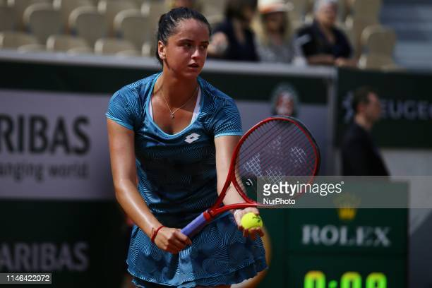 Viktória Kumová during the match between Viktoria Kuzmova and Alizé Cornet at The Roland Garros 2019 French Open in Paris France on May 27 2019