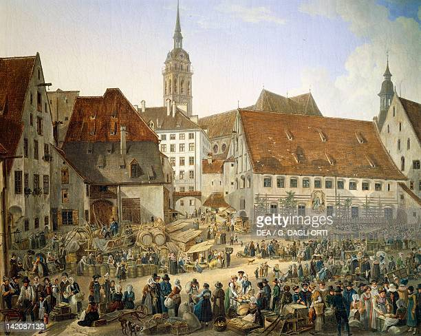 Viktualienmarkt in Munich by Domenico Quaglio Germany 19th Century