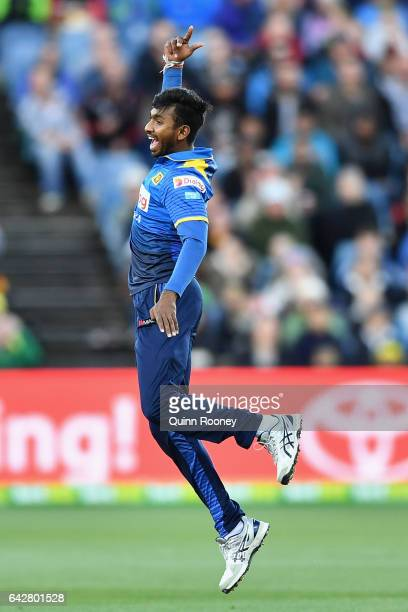 Vikum Sanjaya of Sri Lanka celebrates getting the wicket of Aaron Finch of Australia during the second International Twenty20 match between Australia...