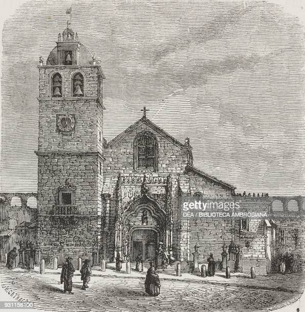 Vila do Conde church drawing by Hercule Catenacci from Travels in the northern provinces of Portugal by LucOlivier Merson from Il Giro del mondo...