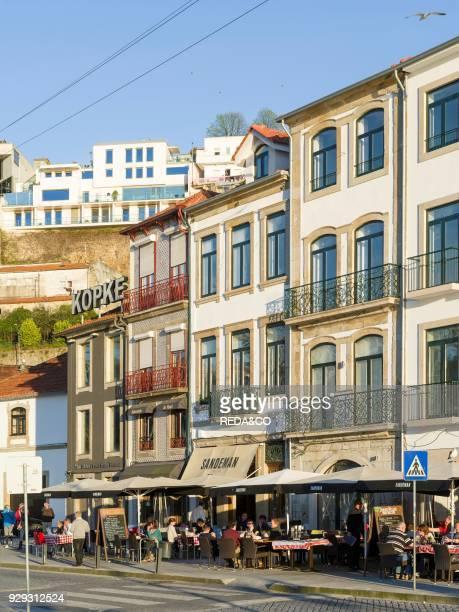 Vila Nova de Gaia on the opposite side of river Douro where most port wine cellars are located City Porto at Rio Douro in the north of Portugal The...