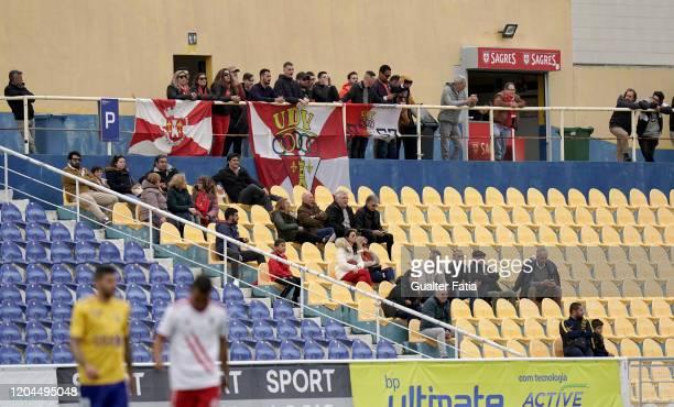 Vilafranquense supporters attend the Liga Pro match between GD Estoril Praia and UD Vilafranquense at Estadio Antonio Coimbra da Mota on March 1 2020...