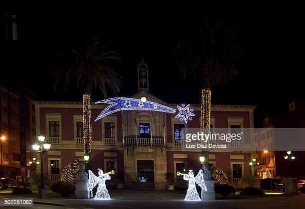 Vilagarcia de Arousa: Town Hall Cristmas Lights at night