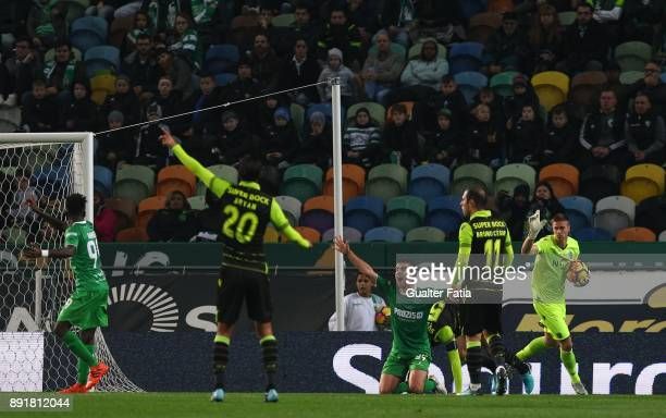 Vilaverdense FC forward Jose Pedro asks the referee for a penalty during the Portuguese Cup match between Sporting CP and Vilaverdense at Estadio...