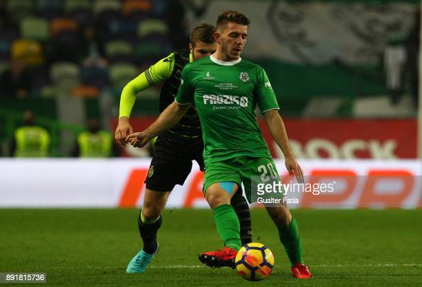 Vilaverdense FC forward Rafa Miranda with Sporting CP defender Stefan Ristovski from Macedonia in action during the Portuguese Cup match between...