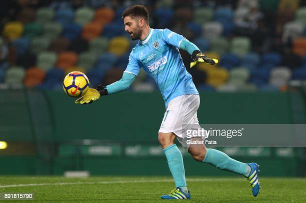 Vilaverdense FC goalkeeper Pedro Freitas in action during the Portuguese Cup match between Sporting CP and Vilaverdense at Estadio Jose Alvalade on...