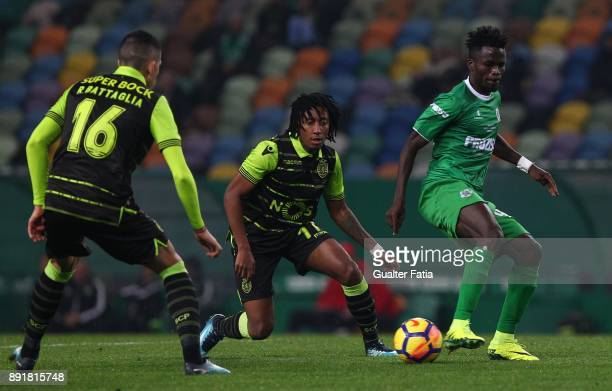 Vilaverdense FC midfielder Ahmed Isaiah with Sporting CP forward Gelson Martins from Portugal in action during the Portuguese Cup match between...