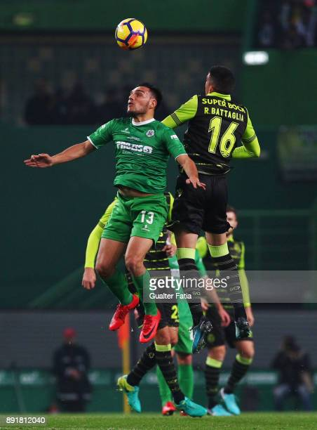Vilaverdense FC midfielder Andre Salvador with Sporting CP midfielder Rodrigo Battaglia from Argentina in action during the Portuguese Cup match...