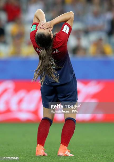 Vilde Boe Risa of Norway reacts during the 2019 FIFA Women's World Cup France Round Of 16 match between Norway and Australia at Stade de Nice on June...