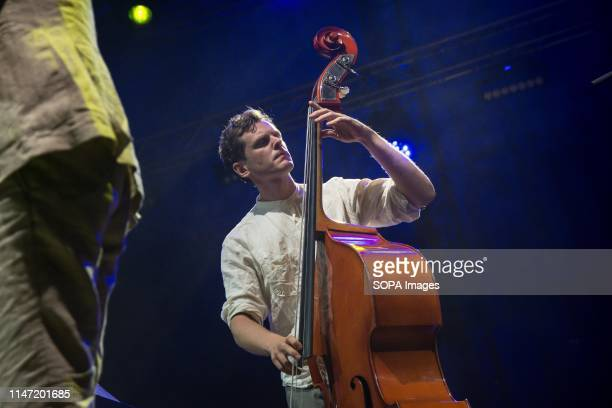 Vilhelm Bromander Contrabassist of Filip Jers Quartet seen performing on stage A weekly jazz festival takes place every year at Technopolis in Gazi...