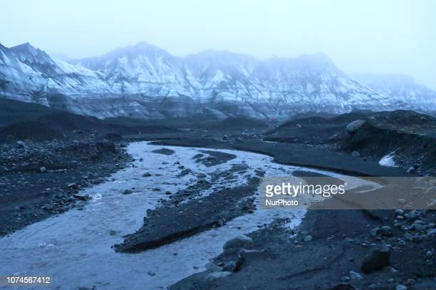 Vilhjalmur Hjorleifsson of Reykjavik conducts a tour near Katla volcano/glacier on December 17 2018 near Vik Southern Region Iceland The ablation...