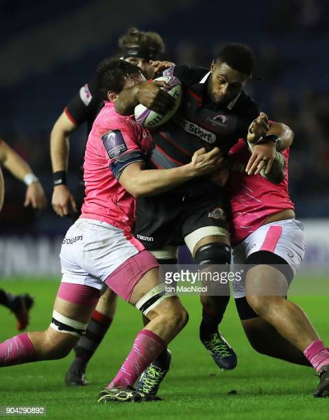 Viliame Mata of Edinburgh Rugby drives forward during the European Rugby Challenge Cup match between Edinburgh and Stade Francais Paris at...
