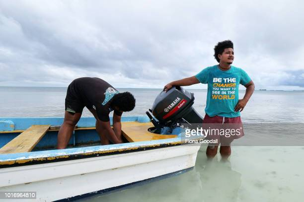 Viliame S'Sosene son of the Tuvalu Prime Minister prepares the boat for a fishing trip with his father with the help of Apelaamo Lonesi on August 15...