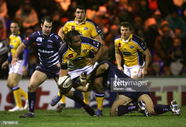 Viliami Ma'asi of Leeds is tackled during the Guinness Premiership match between Sale Sharks and Leeds Carnegie at Edgeley Park on February 15, 2008...