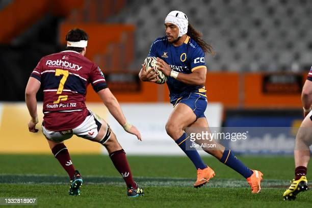 Vilimoni Fine of Otago charges at the defence with the ball during the round one Bunnings NPC match between Otago and Southland at Forsyth Barr...
