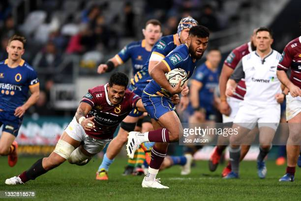 Vilimoni Koroi of Otago attempts to evade the defence during the round one Bunnings NPC match between Otago and Southland at Forsyth Barr Stadium, on...