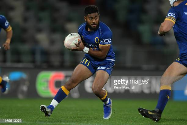 Vilimoni Koroi of Otago in action during the round three Mitre 10 Cup match between Hawke's Bay and Otago at McLean Park on August 22, 2019 in...