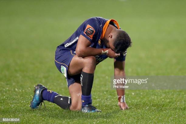 Vilimoni Koroi of Otago is dejected on fulltime during the round one Mitre 10 Cup match between North Harbour and Otago at QBE Stadium on August 17,...