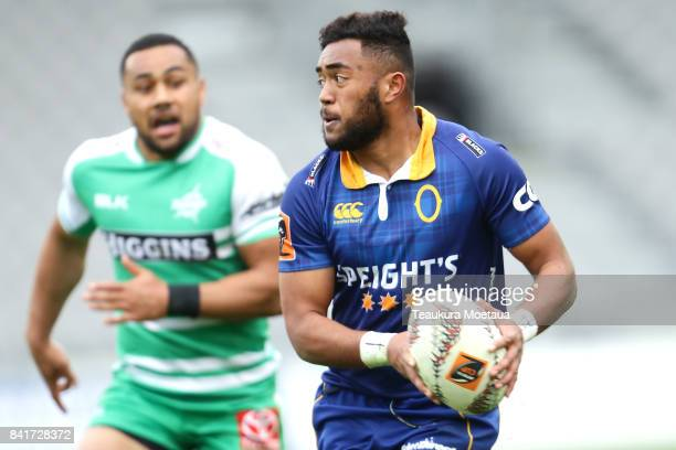 Vilimoni Koroi of Otago makes a break during the round three Mitre 10 Cup match between Otago and Manawatu on September 2 2017 in Dunedin New Zealand