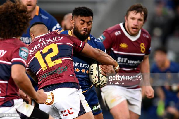 Vilimoni Koroi of Otago runs into the defence during the round one Bunnings NPC match between Otago and Southland at Forsyth Barr Stadium, on August...